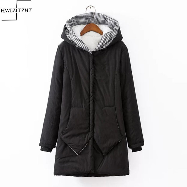 New Thickening Winter Lambs Fur Parka Coat Warm Hooded Collar Jackets for Women Plus Size Womens Parkas for Women