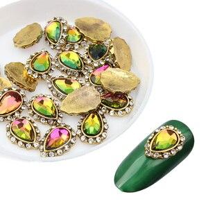 10 шт./лот, античный сплав в форме капель воды, 3d-декор для ногтей, украшения ногтей, Кристальные алмазы, СТРАЗА под камень, аксессуары для ювел...