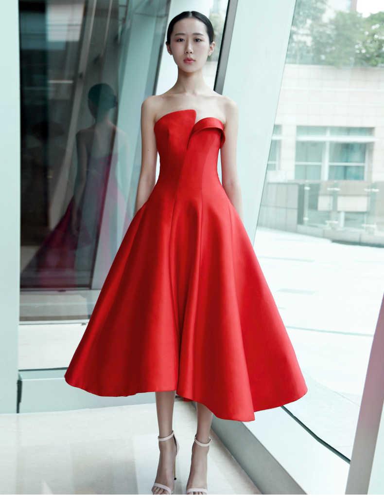 4ea7327bec ... robe de soiree 2019 Red Satin Vintage Tea Length Simple Short Evening  Dress Strapless Women Informal ...