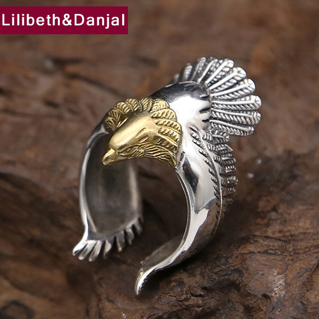 Anillo de águila para 100% Plata de Ley 925, joyería fina para hombre o mujer, regalo de fiesta de moda con personalidad, marca GR15