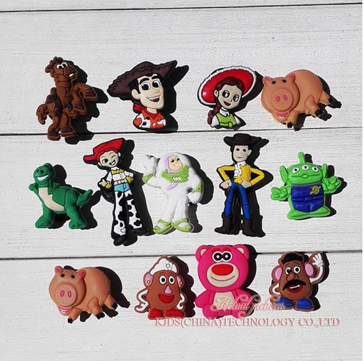 Free Shipping 13pcs Toy Story Shoe Charms Shoe Accessories For Wristbands Croc Jibz Best Gift For Shoe Decoration Kids Gift