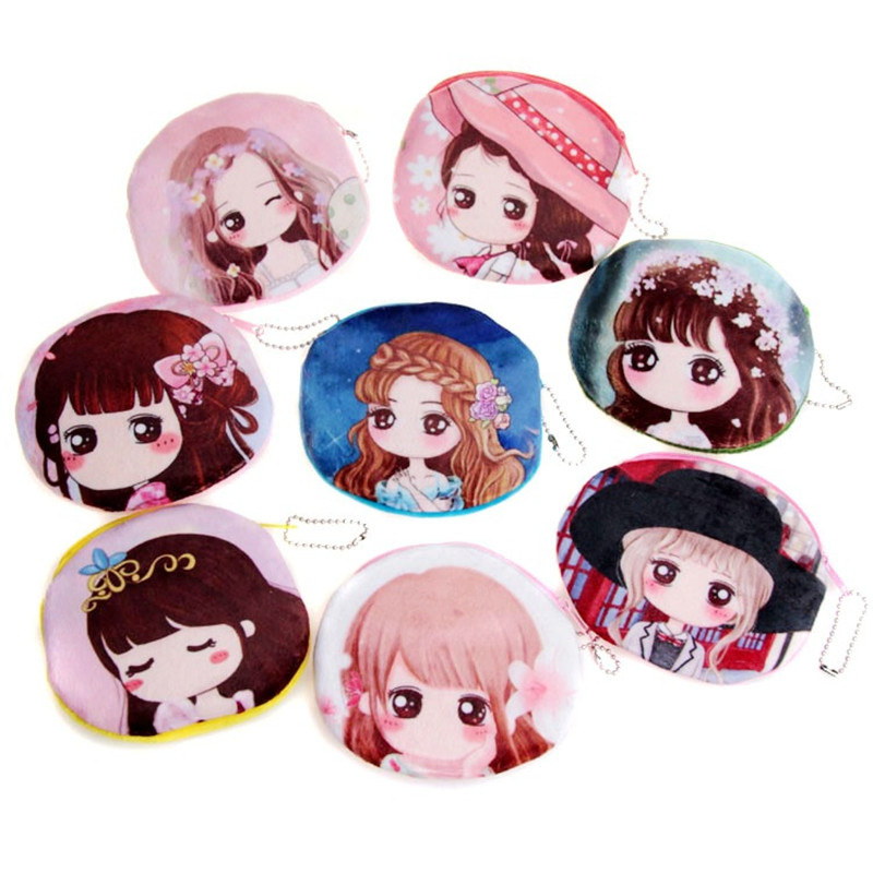 2017 cute cartoon girl change pocket female plush coin purse Teenagers princess small wallet with print purse for children girls girls print purse