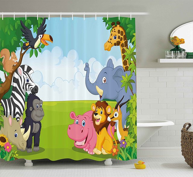 Kids Decor Shower Curtain Children Nursery Room Safari Themed Cartoon Animals Image Art Print Set With Hooks