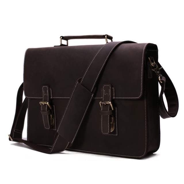 4bfbf32dfb2b High Quality 100% Leather Laptop Bag Leather Briefcase Messenger Bag Men s  Handbag Crazy Horse Leather 7035W