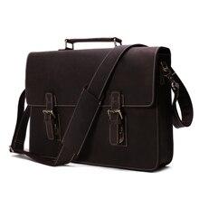 High Quality 100% Leather Laptop Bag Leather Briefcase Messenger Bag Men's Handbag Crazy Horse Leather 7035W