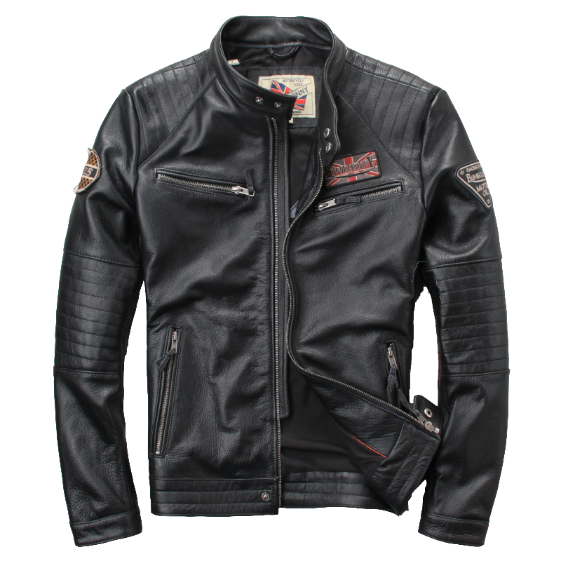 Jacket Motorcycle Coat Biker's Russian-Spring Genuine-Cowhide XXXL Black Slim Plus-Size
