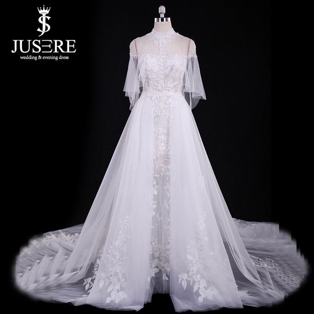 934f278982 US $1385.0 |Robe de soiree 2019 New Arrival Beading Lace Wedding Gown High  Neck Illusion Fairy A line Bridal Dress Real Photos-in Wedding Dresses from  ...