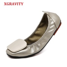 XGRAVITY 2019 Hot Plus Size Elegant  Women Foldable Flat Shoes Fashion OL Ladies Flats Round Toe Womans Footwear Female A074