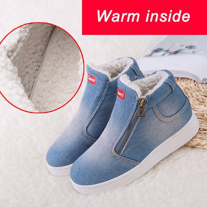 נשים קרסול מגפי 2018 חורף מגפי נשים ג 'ינס ג' ינס מגפי נשים שלג מגפי חורף נעלי גודל גדול 35-44