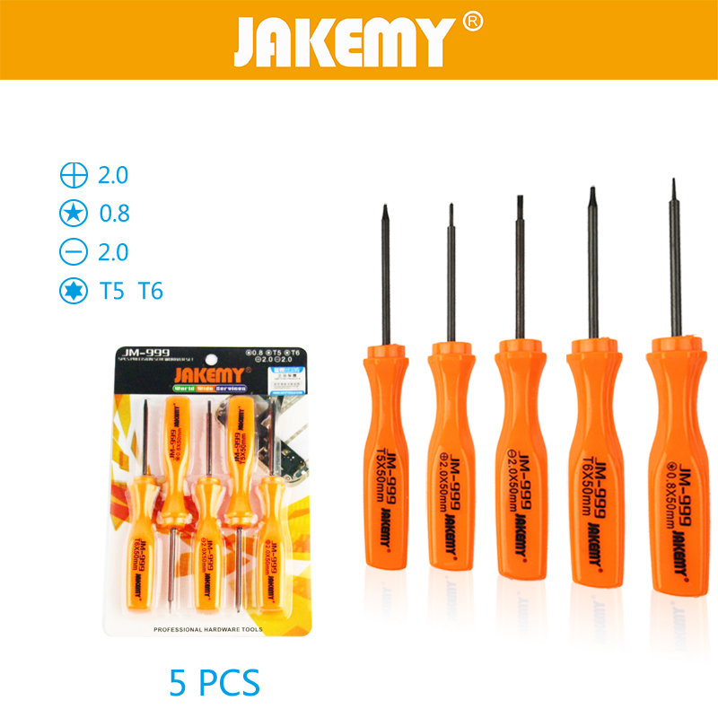 JAKEMY 5 in 1 Precision Screwdriver Set Torx T5 T6 Destornillador Carbon Steel Repair Opening Tools Kit For Mobile Phone Laptop in Hand Tool Sets from Tools