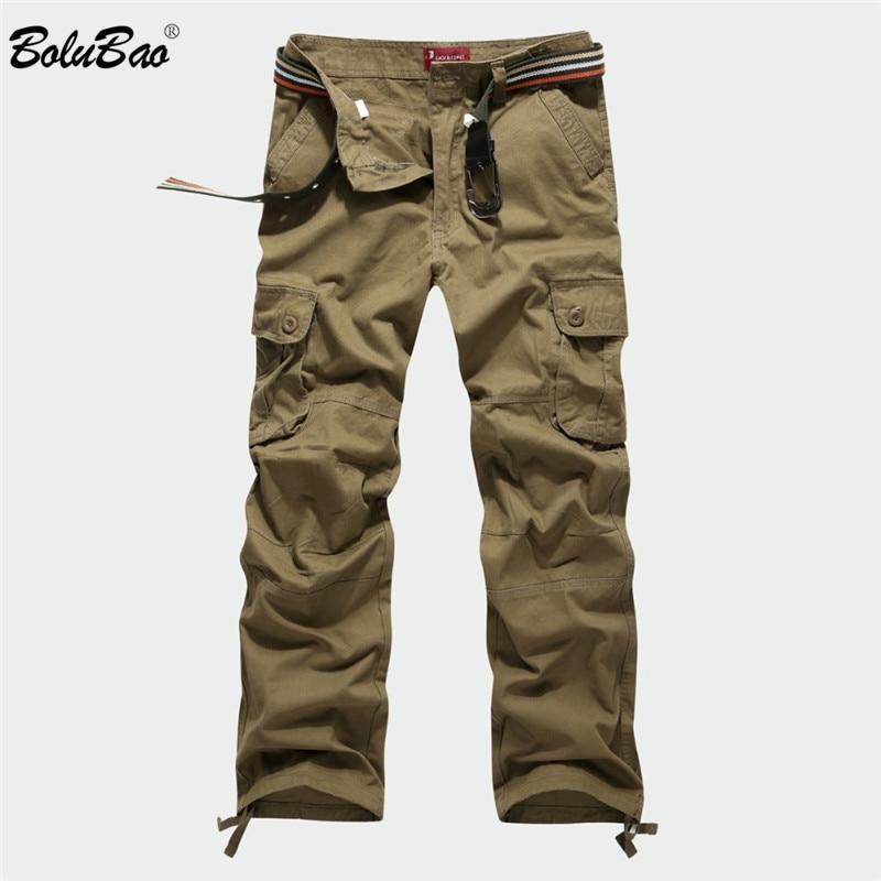 BOLUBAO 2018 nuevos pantalones Cargo hombres Multi bolsillos pantalones  militares camuflaje pista pantalones hombres cintura elástica 20fb2d75af5