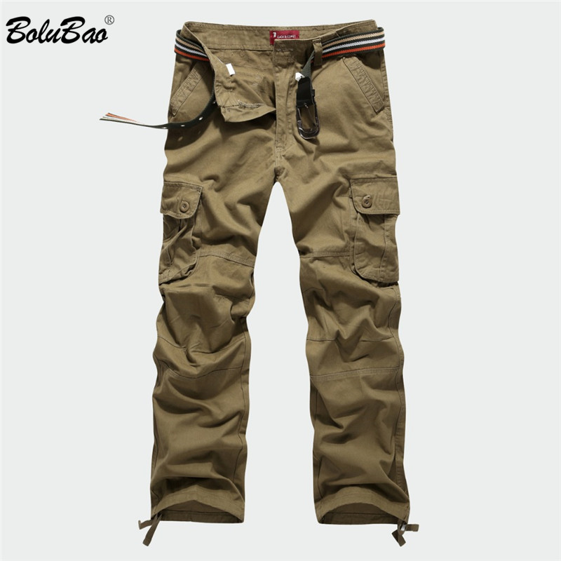 BOLUBAO New Men Cargo Pants Men Multi Pockets Pants Military Camouflage Track Pants Trousers Mens Elastic Waist Pant 8