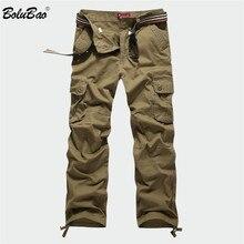 BOLUBAO yeni erkek kargo pantolon erkekler çok cepler pantolon askeri kamuflaj eşofman altları pantolon erkek elastik bel pantolon