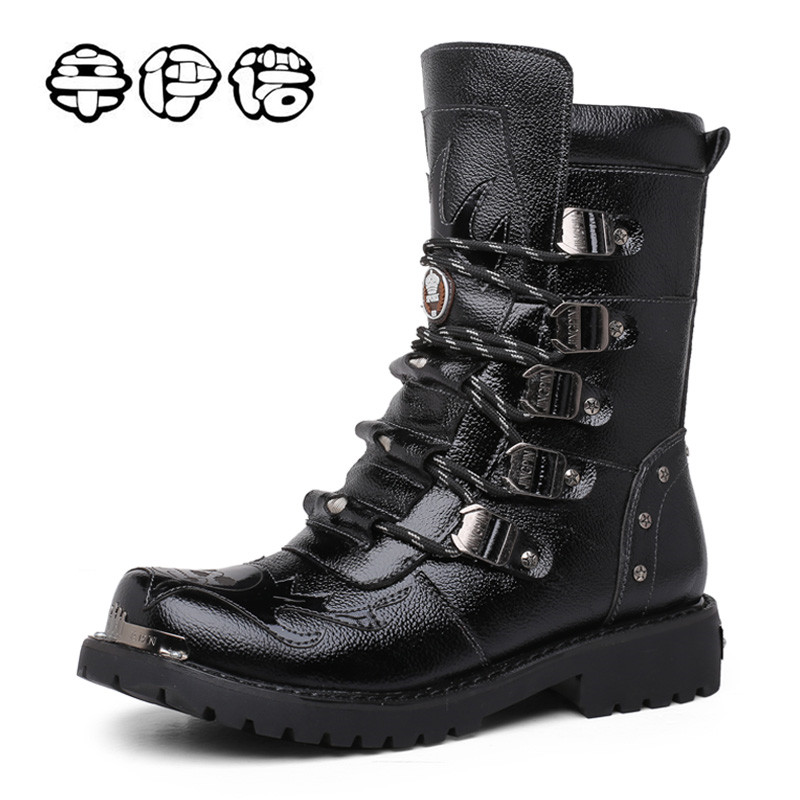 Fashion Cowhide Genuine Leather Military Uniform Boots Gothic Skull Punk Martin Platform Mid-calf Boots Steampunk Shoes 38-44 double buckle cross straps mid calf boots