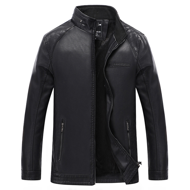 Motorcycle Leather Jackets Men Autumn Winter With pockets Quality Leather Jackets Male Business casual Coats Black 3XL 4XL Y1819