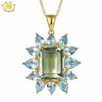 Hutang 9ct Natural Gemstone Green Amethyst Pendant Blue Topaz 925 Sterling Silver Necklace Yellow Gold Fine Jewelry for Women