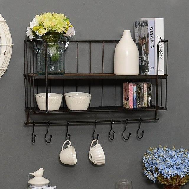 New Kitchen Good Helper Utensils Iron Storage Rack Organizer With Hooks  Cups Multi Function Spice Holder
