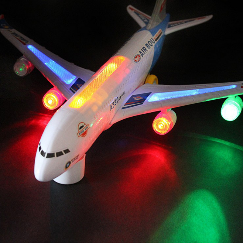 1 Pcs Electric Airplane Toys Moving Flashing Lights Sounds Music DIY Assembly Aircraft Airbus A380 Plane Automatic Steering Kids
