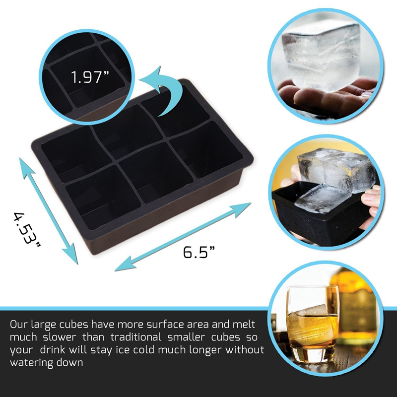 2 PCS Frozen 6 Silicone Ice Ball 6 Persegi Ice Cube Trays Silicone - Dapur, ruang makan, dan bar - Foto 2