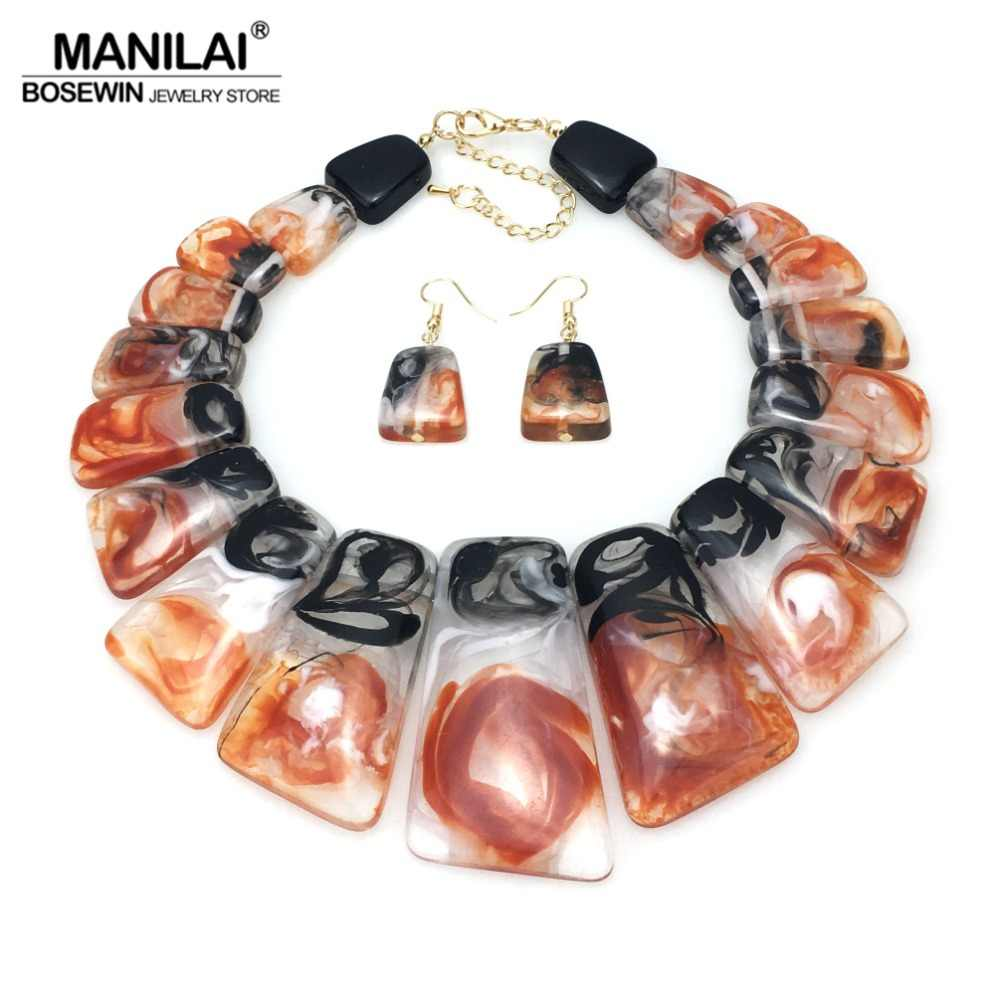 MANILAI Big Colouration Clear Resin Statement Necklaces Sets With Earrings Women Geometric Choker Necklace Fashion Jewelry Set