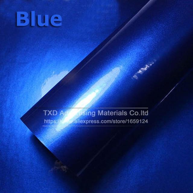 Top quality 10/20/30/40/50/60X152CM/Lot Blue Glossy Metallic Glitter Car Sticker for car wraps Glossy Candy Vinyl Film