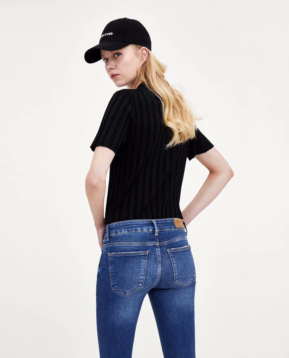 9ccc8b3772a Jenny Dave jeans woman ankle length pants button fly jeans women plus size  skinny straight scratched pockets washed hole-in Jeans from Women s  Clothing ...