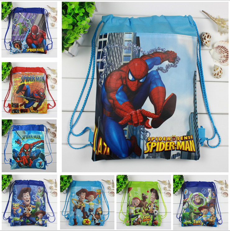 12Pcs New Spiderman Toy Story Children School Bags Cartoon Drawstring Backpack Shopping Bag Party Printing Traveling Bags Gift free shipping 20pcs lot monsters university cartoon drawstring backpack bag children kids bag 34x27cm schoobag party gift