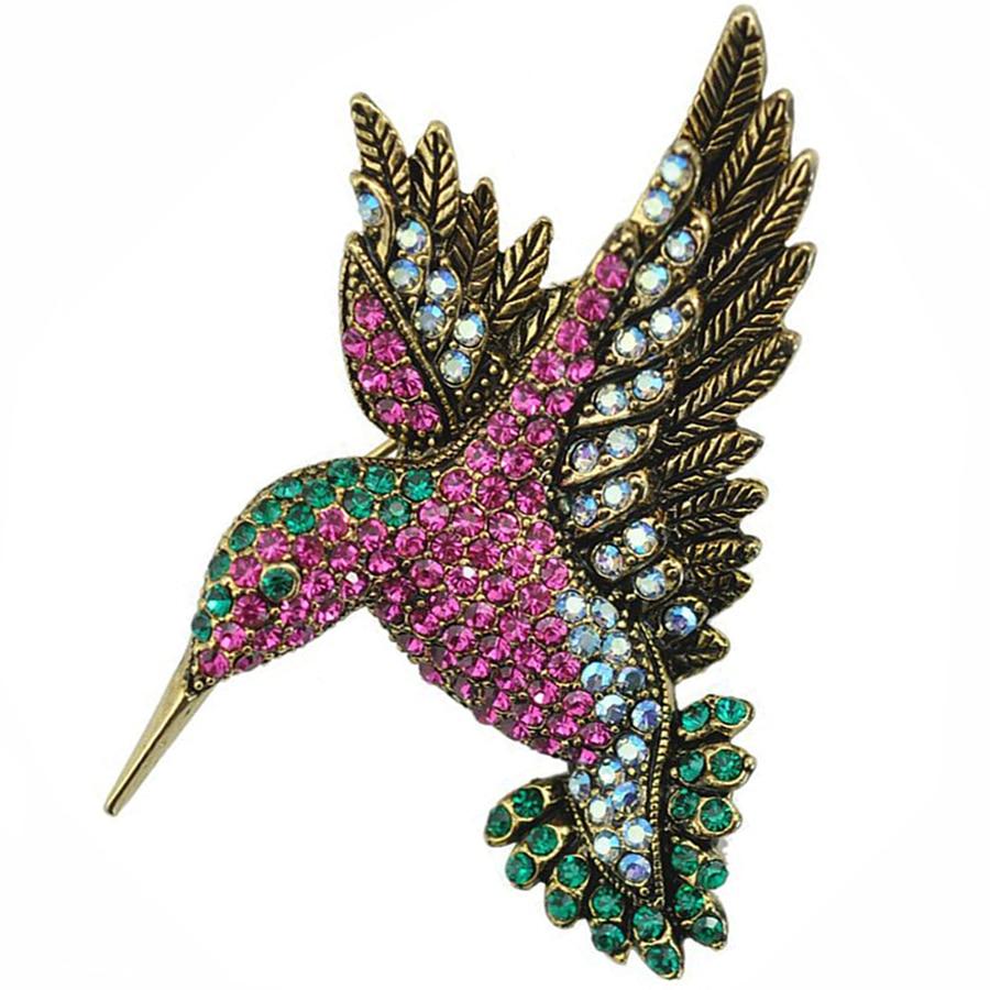 Cute Rhinestone Animal Woodpecker Large Brooches Pins For font b Women b font Crystal Brooch Clothing