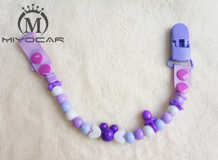 MIYOCAR Hot! Smukke sikre farverige dejlige perler håndlavede spændeklips / kædeholder Dummy clip / Tethers clip / pacifier holder