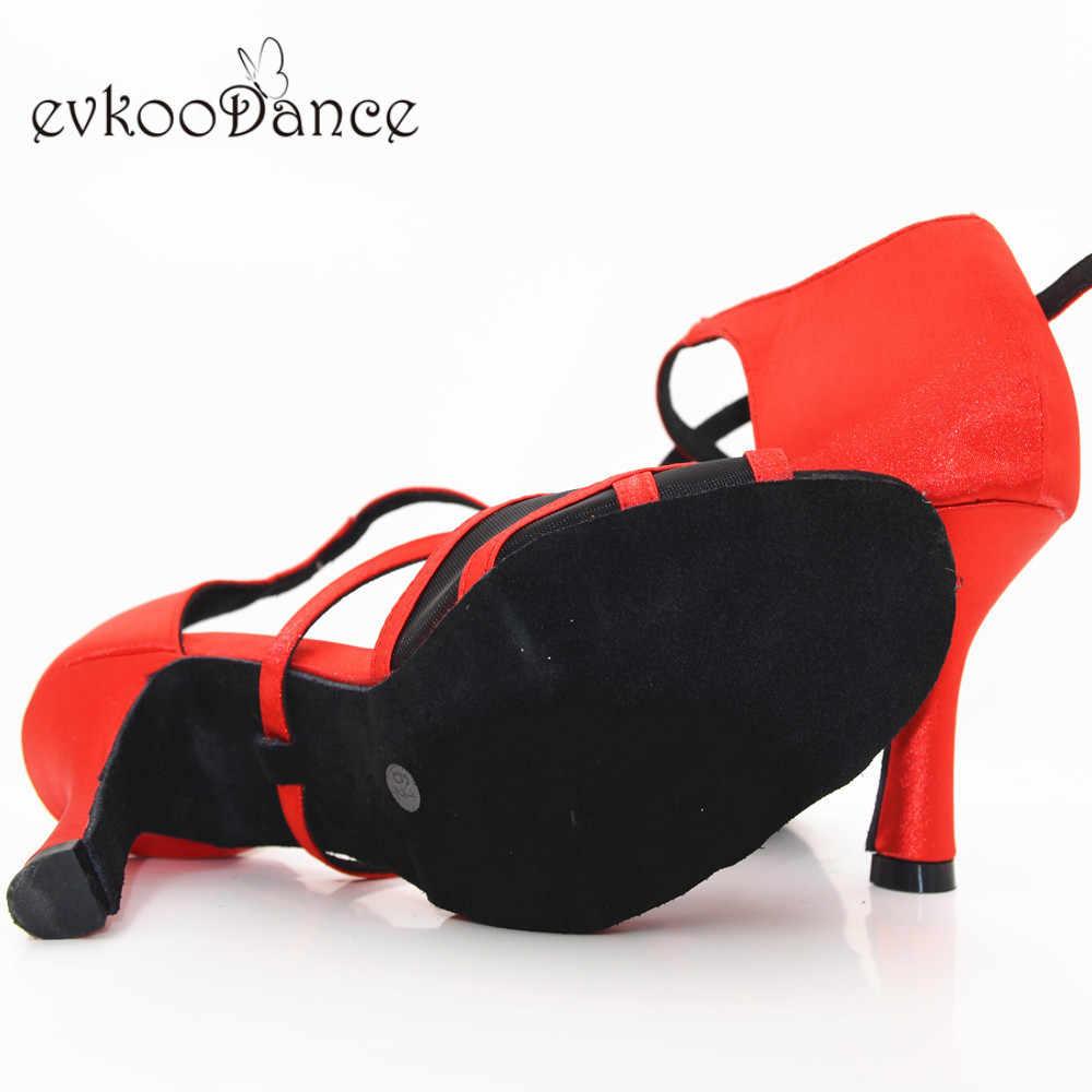 Zapatos De Baile Latin Sapatos de Dança Cor Vermelha Com Malha Preta Tamanho EUA 4-12 8.3 centímetros Altura Do Salto profissional NL233