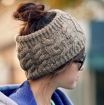 Womens Knitting Wool Sport Beanie Hat Top Hollow Off For Ponytail Hair Casual Sport Warm High Quality Young Girls Cap CP006 qiu dong korean fashion personality joker empty hat knitting wool hair hoop headband