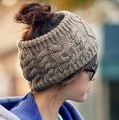 Womens Knitting Wool Sport Beanie Hat Top Hollow Off For Ponytail Hair Casual Sport Warm High Quality Young Girls Cap CP006