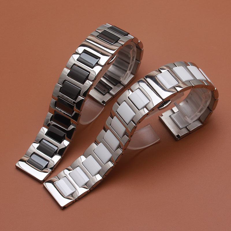 цены на Ceramic Watch Band straps 14mm 16mm 18mm 20mm 22mm Universal Watchband Butterfly Buckle Strap Wrist Belt Bracelet Black White в интернет-магазинах