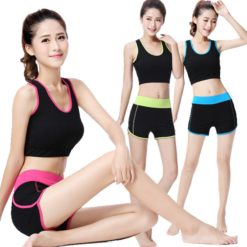 New Yoga Clothes 2 Sets Of Summer Short Sleeved Shorts font b Sports b font Vest