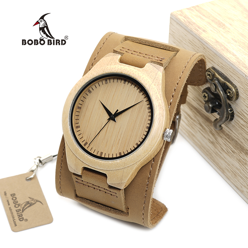 BOBO BIRD Mens Bamboo Wood Watches Chicago Bracelets Detachable Wide Genuine Leather Band Straps with Gift