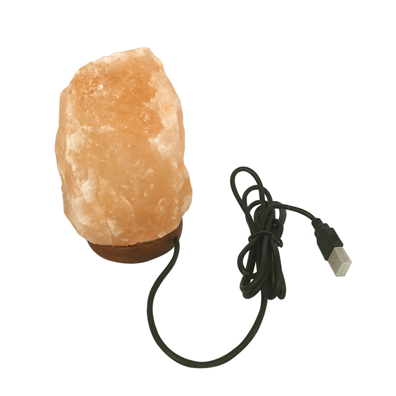 Natural Hand Carved USB Wooden Base Himalayan Crystal Rock Salt Lamp Air Purifier Night Light