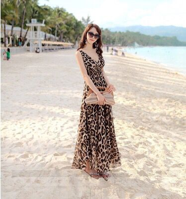 Bohemian dress vintage Floral print sashes beach dresses women maxi dress Ladies cross V neck Summer