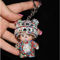 Hot  Monchichi Keychain monchichi sleutelhanger strass Doll Rhinestone Bag Charm Accessories Fur Pom Pom Key Chain porte clef