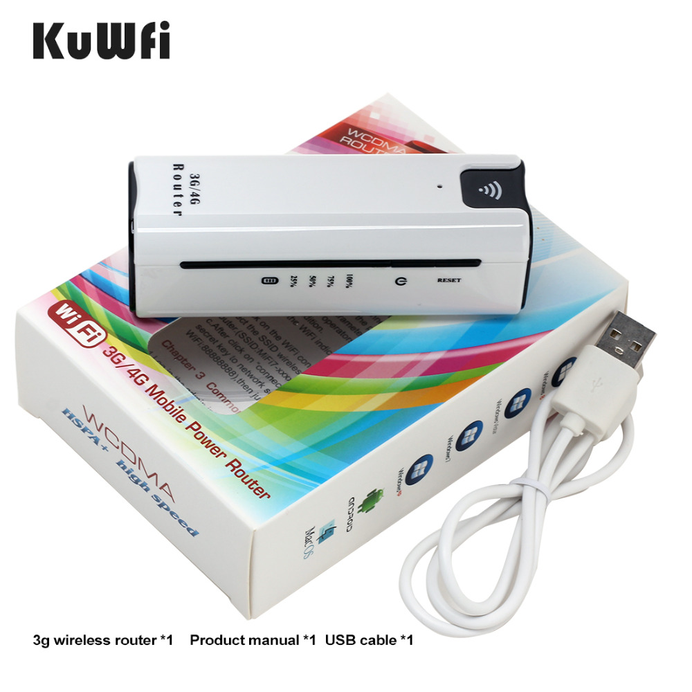 KuWFi Inteligente banco de Potência Moblie 3G Router Wi-fi Com Slot Para Cartão Sim Portátil Wi-fi Hotspot Móvel Modem Wi Fi 3G Router wi-fi