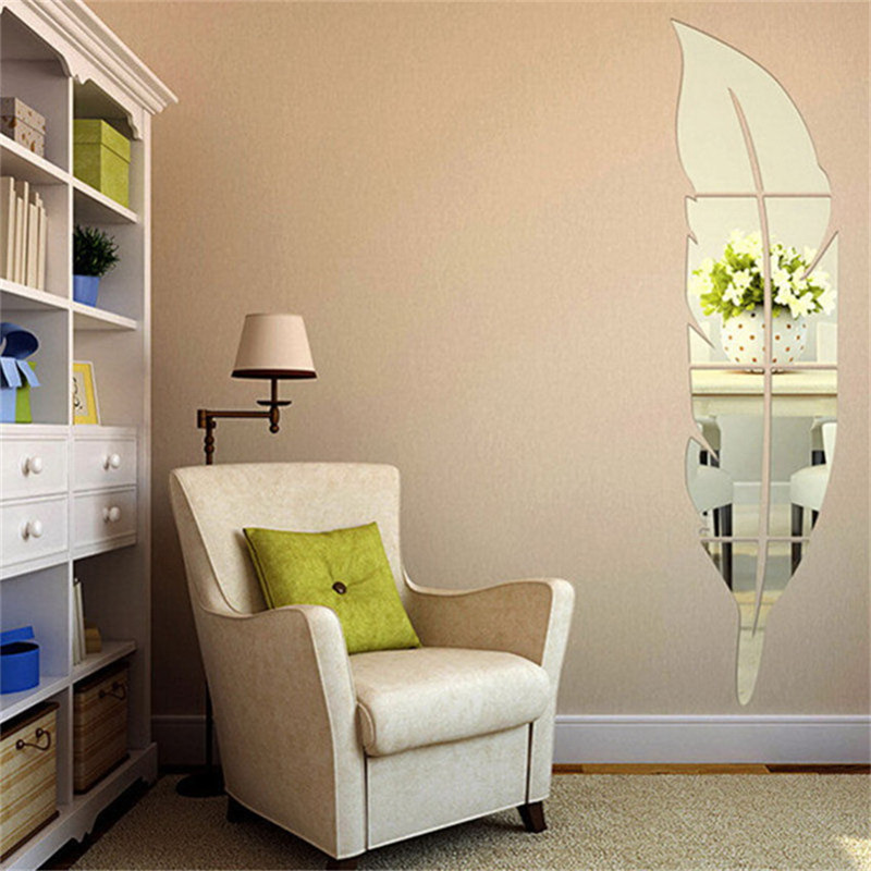 Aliexpress Buy 2017 New Style Feather Fitting Quare Mirror Tile Wall Stickers 3D Decal Mosaic Home Decoration DIY For Living Room Porch From Reliable