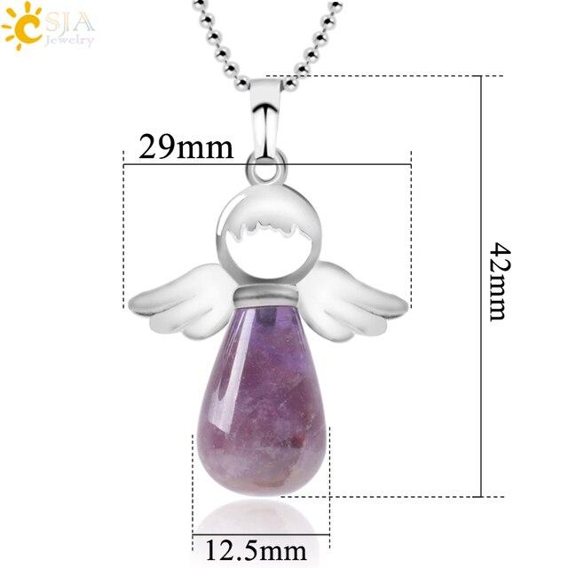 Фото ожерелье csja с ангелом из натурального камня ожерелье розовым
