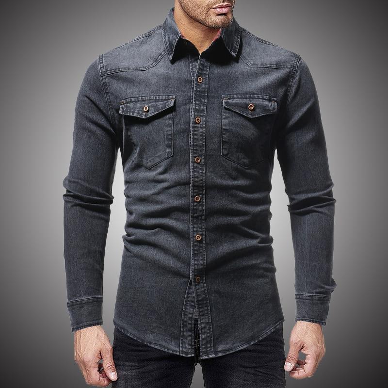 Shirt Men Casual  Jeans Dress Shirt