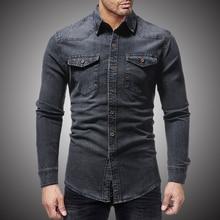 Black Denim Shirt Men Casual Fit Slim Long Sleeve Shirts 2018 Autumn Cotton Jeans Dress Shirt Mens Clothing Plue Size WY102
