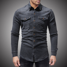 Black Denim Shirt Men Casual Fit Slim Long Sleeve Shirts 201