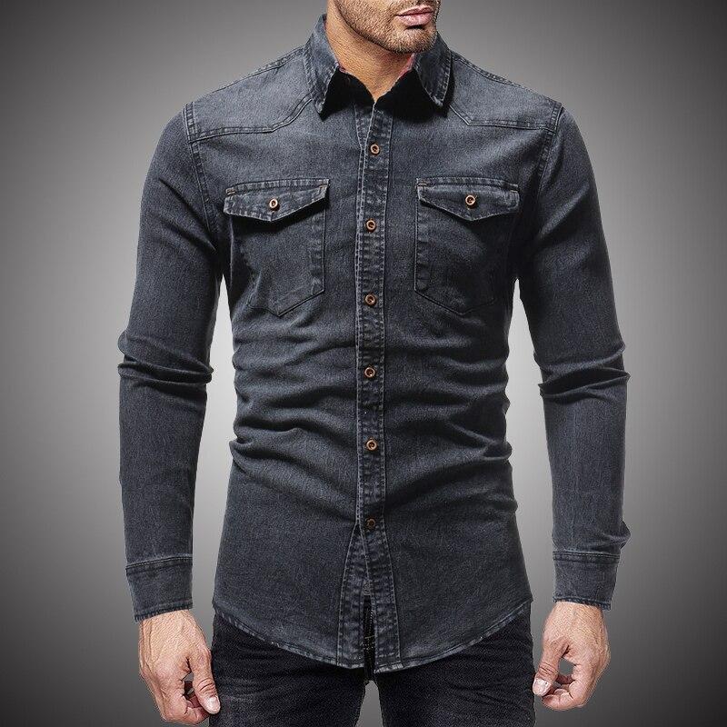 58692c63ea3b Kopen Goedkoop Zwart Denim Shirt Mannen Casual Fit Slim Met Lange Mouwen  2018 Herfst Katoen Jeans Jurk Shirt Heren Kleding Plue Size WY102 Online