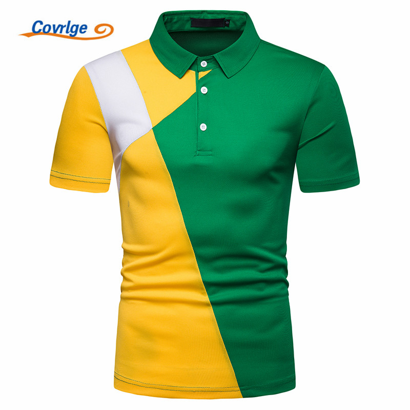 Covrlge   Polo   Shirt Men   Polo   Homme Patchwork Short Sleeve Brands Camisa Masculina Hombre Ralphmen Men Tops&Tees MTP116