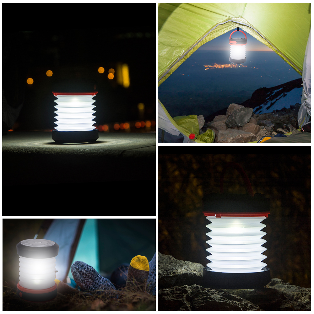 BRILEX Solar Lantern Portable LED Lamp USB Rechargeable collapsible and inflatable Waterproof IPX5 Light Outdoor Camping Light