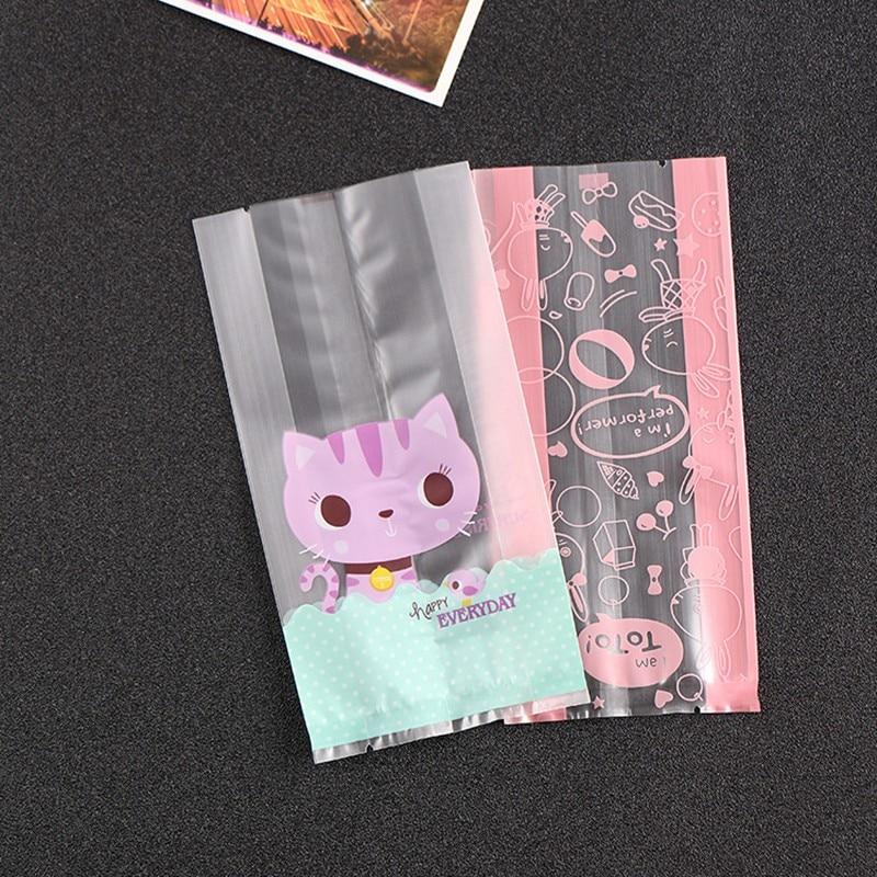 Hot 50pcs pack Plastic Biscuit Cookie Bag Baking Packs Sac Plastique Cute  Cat Pattern Packaging for Cookies Bolsas de Regalo 17b34182d45a