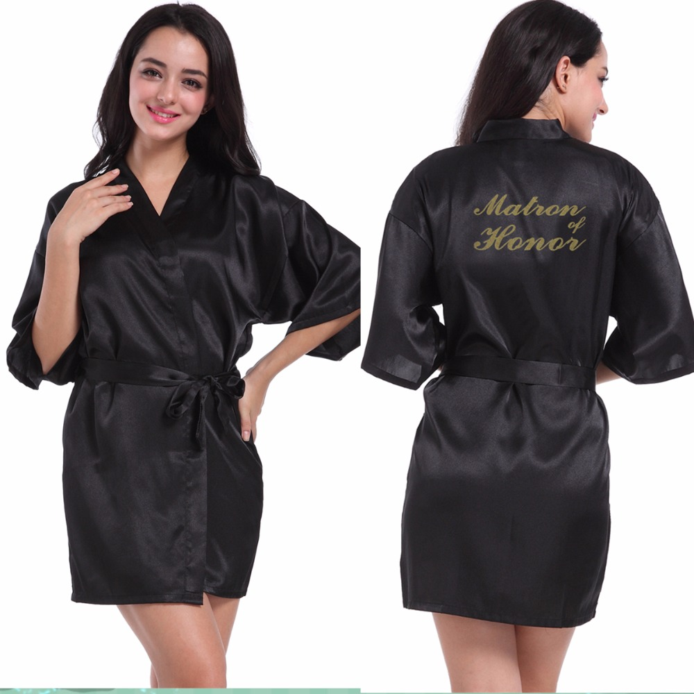 Black Matron of Honor robe Letter Golden Glitter Print Kimono Robes Women  Bachelorette Wedding Bridal Party Robe-in Robes from Underwear   Sleepwears  on ... 04a0c6c1c