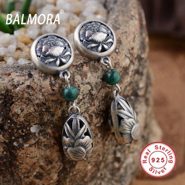 BALMORA 100% Real 925 Sterling Silver Jóias Malaquita Retro Phoenix & Peony Brincos para Mulheres Amante Presentes Bijoux SY31091